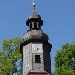 Evangelische Sankt Georgskirche Waltershausen - Kirchenturm mit Kirchturmuhr