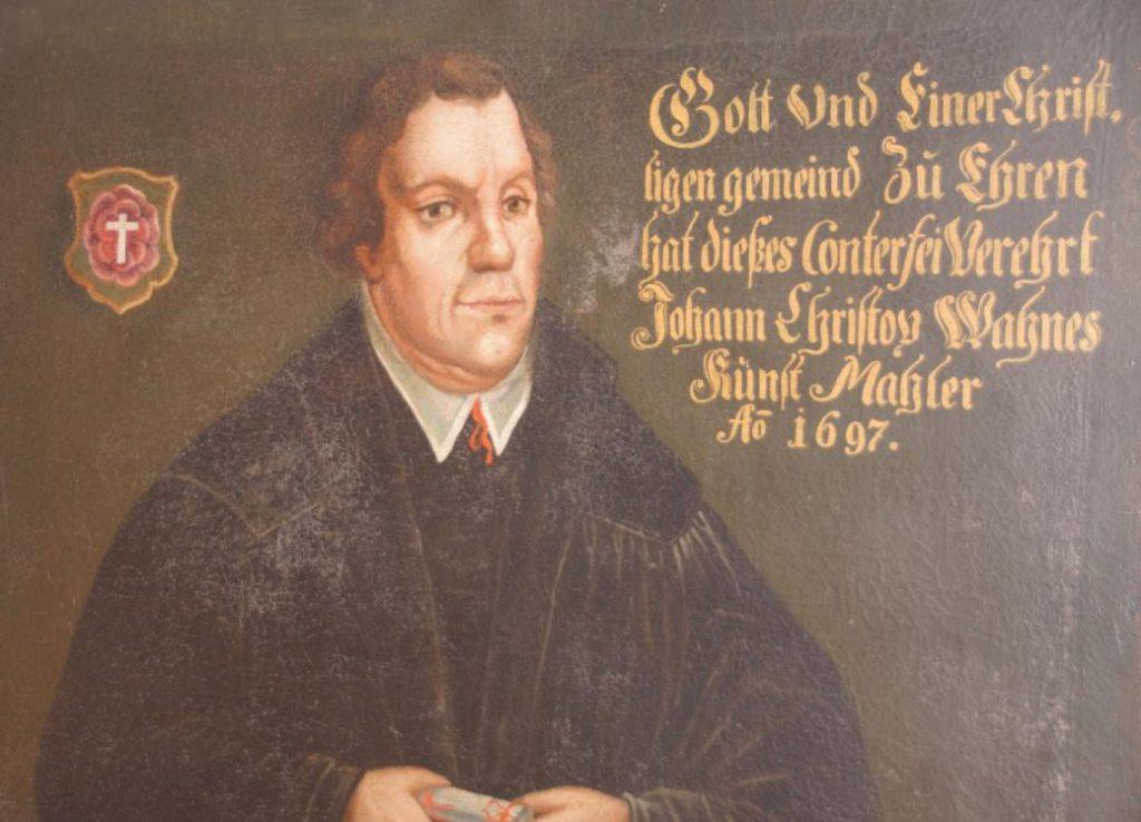 Geschichte der Sankt Georgskirche Waltershausen Saal an der Saale - Kirchrengemälde von Martin Luther mit Zitat
