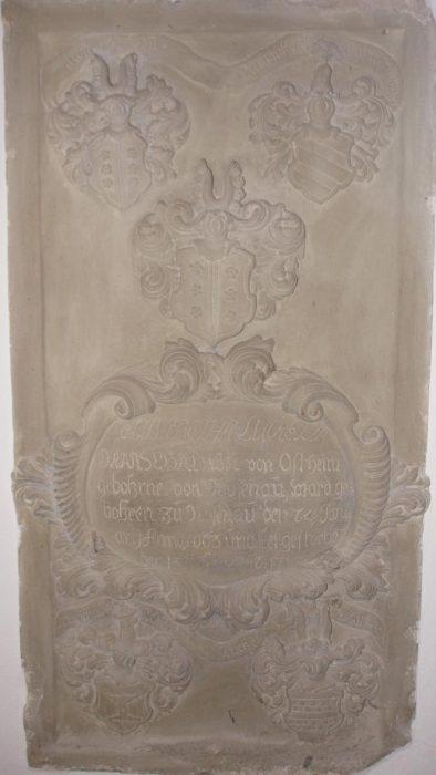 Evangelische Kirche Waltershausen - Steinernes Grabmal von Grabmal von Elisabetha Lucretia M. v. O.