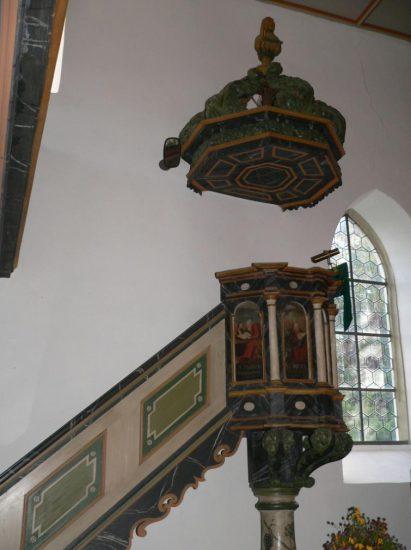 Waltershausen Saal an der Saale - scharz-weiß Foto der Kanzel ohne Gemälde